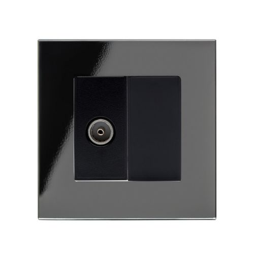 RetroTouch Single TV Coax Socket Black Glass PG 04079